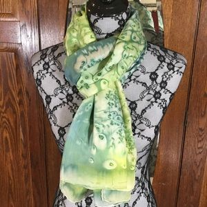 Green and Blue Tie Dyed 100% Silk Scarf